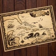 Mappa del Mar Dei Caraibi Pirate Adventure Classic Vintage Retro Kraft Poster Decorativo Mappe Bar A Casa Poster Parete Della Tela di canapa Sticker De
