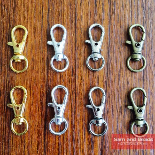 Broche de pinza giratoria 20 piezas de oro, plata, bronce, gancho para llave, llavero, tecla dividida, hallazgos de anillo, cierres para llaveros, fabricación de 32mm