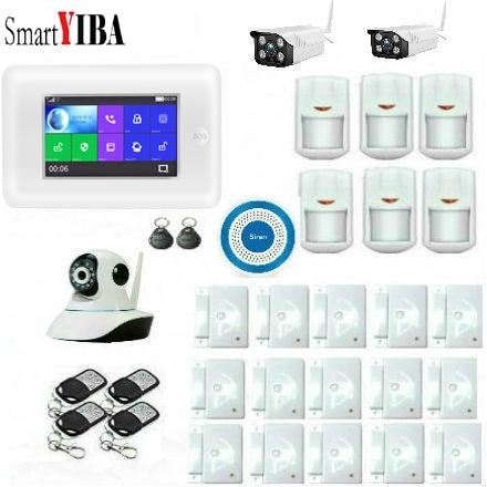 SmartYIBA WIFI App عن بعد GSM المنزل الذكي نظام إنذار الأمن المنزل لص إنذار في الهواء الطلق كاميرا IP متوافق الأمازون اليكسا