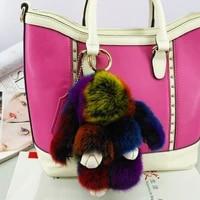 rabbit keychain fluffy rabbit fur key chains for women bags pendant decoration pom pom keyring fashion kids easter gifts