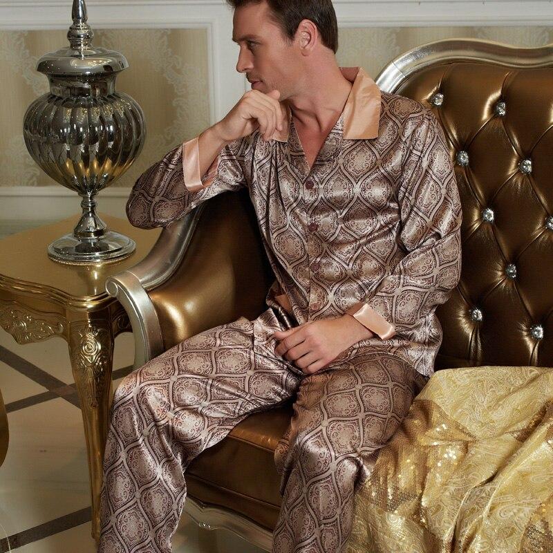 2020 НОВИНКА пижамы мужские атлас шелк одежда для сна мужские с длинным рукавом пижамы брюки комплекты мягкость искусственный шелк пижама X20506