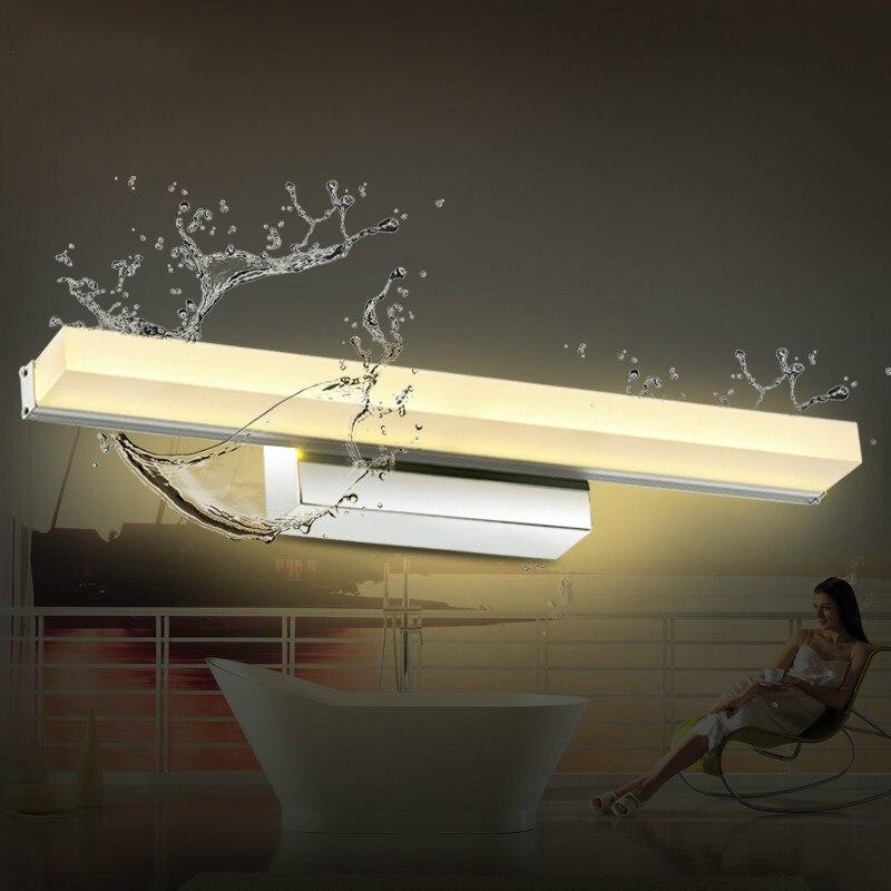 Lámpara de pared de cristal espejo moderno breve luz led para espejo de iluminación antiniebla a prueba de agua lámparas de baño 7002