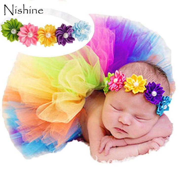 NISHINE красочные радужные цвета милый Новорожденный ребенок Фотография реквизит сладкий фото реквизит цветок повязка на голову