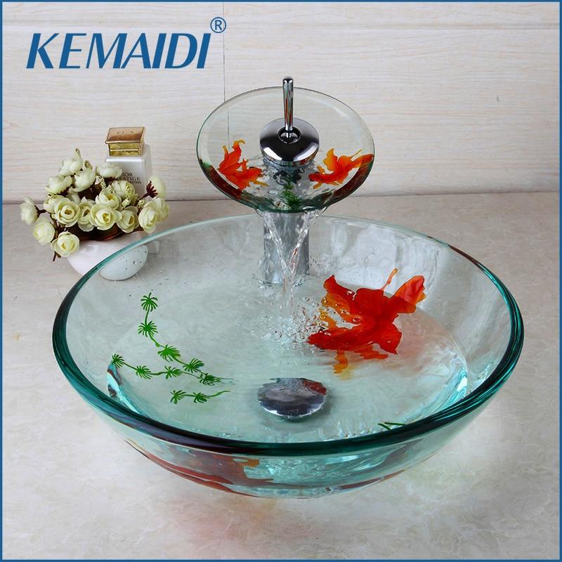 KEMAIDI-حوض غسيل زجاجي مطلي بالذهب ، حوض استحمام منبثق ، مجموعة حوض ، إكسسوارات حمام
