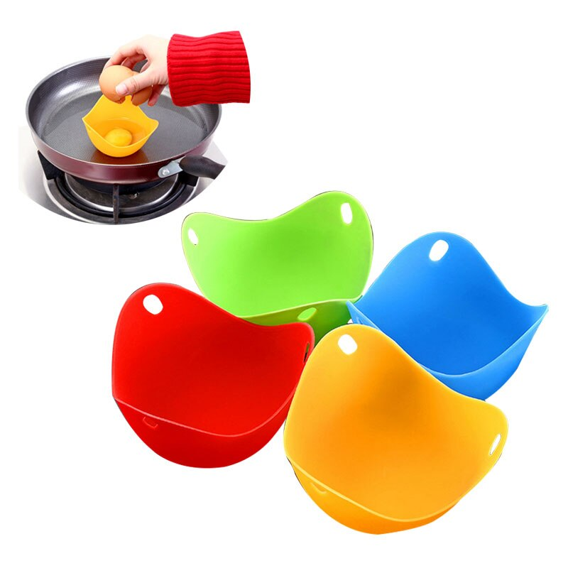 Hoomall, 4 Uds., hervidor de Silicón para huevos, escalfador de huevos, accesorios de cocina, utensilio para hacer panqueques, recipiente molde para huevos, anillos, cocina