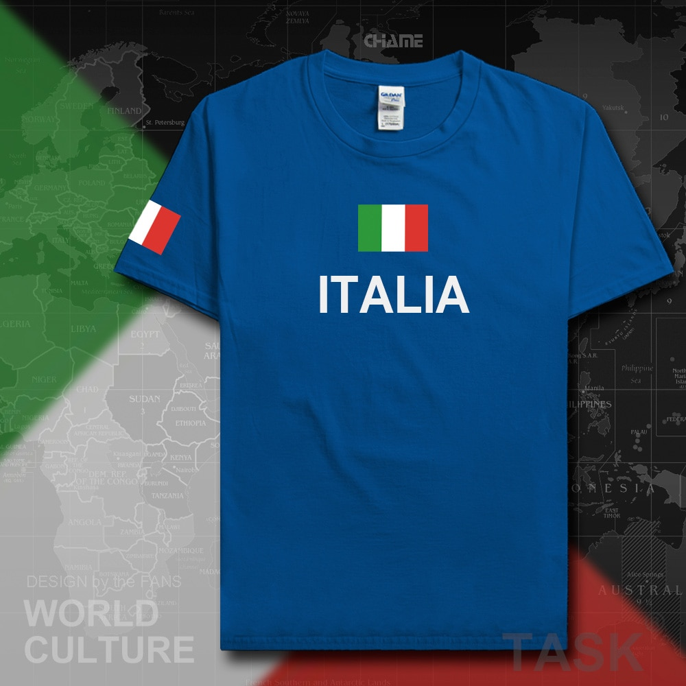 Italia Camiseta Hombre 2017 camisetas nation team 100% algodón gimnasios jerséis para seguidores streetwear fitness ITA country tops