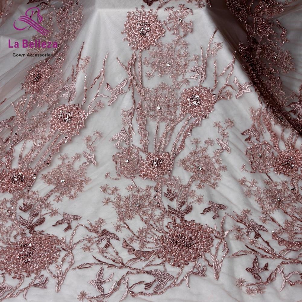 1yard New arrivels pink/black/blue heavy handmade beads on netting embroidery wedding dress lace fabric 130cm width