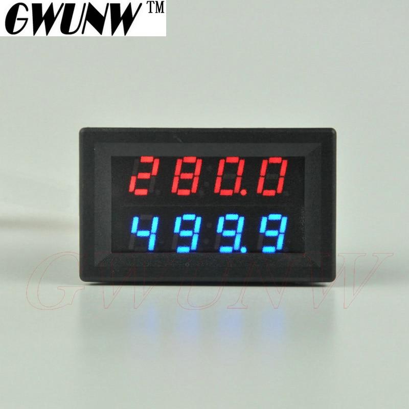 GWUNW BY42A 500V 1A DC 4 BIT amperímetro de voltaje Digital probador de corriente voltímetro doble pantalla rojo azul verde LED