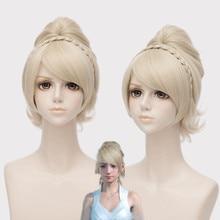 IHYAMS Wigs Game Final Fantasy XV Lunafreya Cosplay Wigs Princess Light Gold Hair Halloween,Stage Costumes Wig +Wig Cap