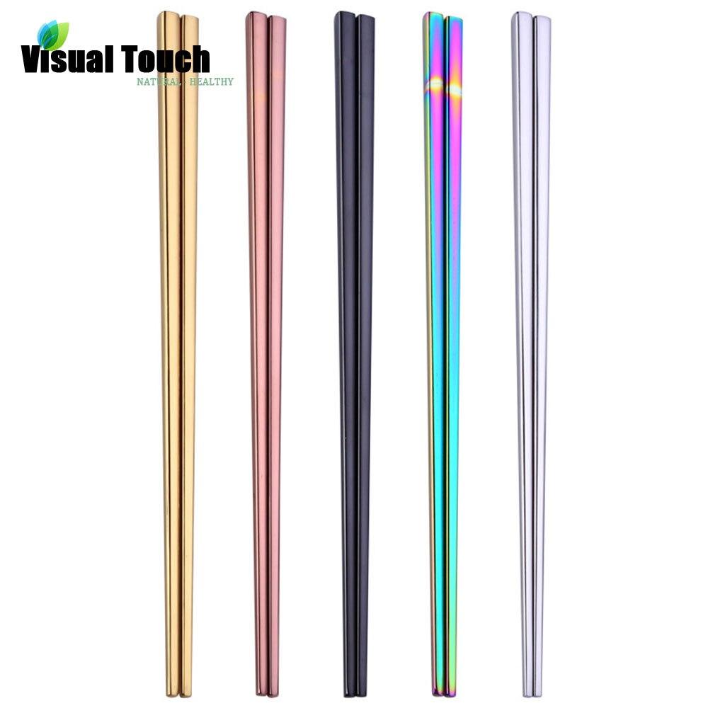 Visual Touch 1 par de palillos chinos de acero inoxidable para comer, palillos chinos coloridos de estilo chino, decoración para la Mesa