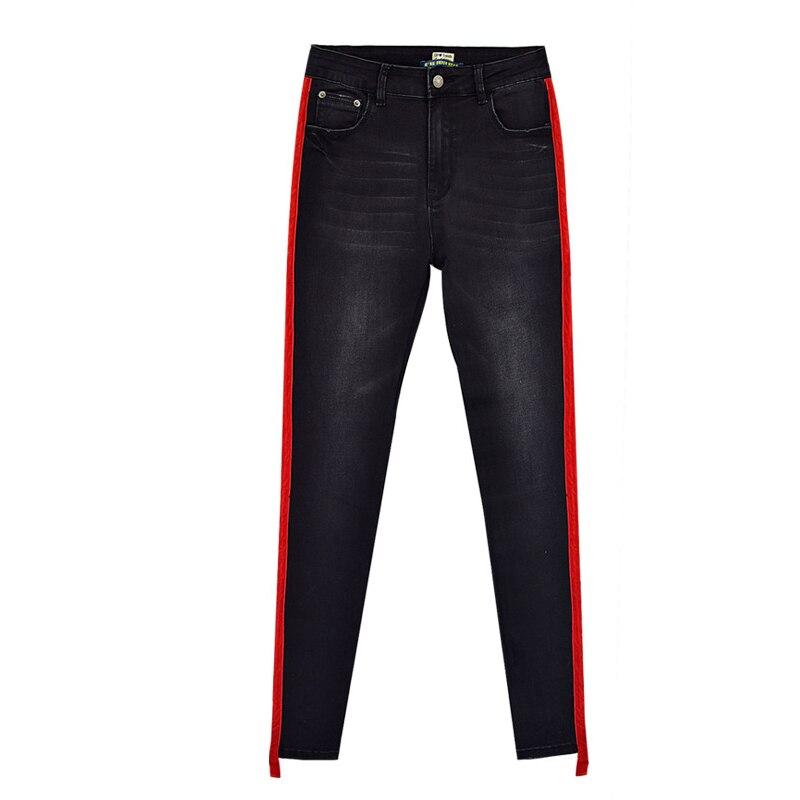 Pantalones vaqueros de cintura alta a rayas rojas a la moda para mujer, Vaqueros sexis negros elásticos ajustados para mamá, pantalones de pitillo vaqueros para mujer