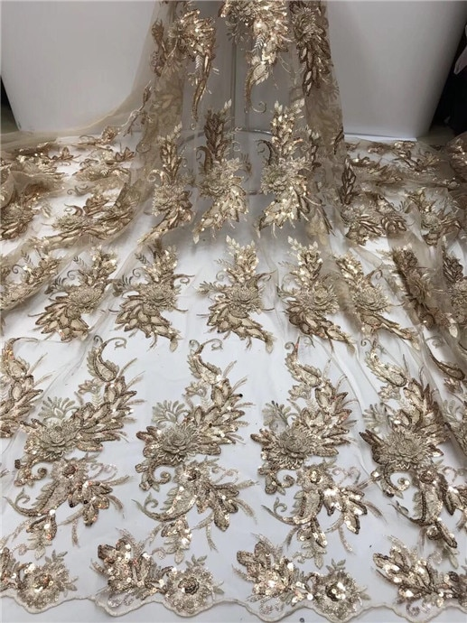 En 2019 de alta calidad grande de encaje de tela de encaje tela con colorido Latina ropa neto oro (FJ-5-19