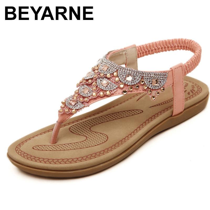 Beyarne 2019 mulher sandálias sapatos de cristal boêmio clipe toe confortável sandálias sapatos elástico banda volta cinta plana praia sapatos