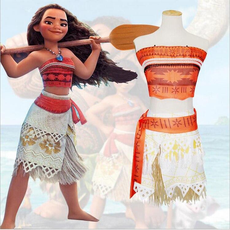 Movie Princess Moana Costume for Kids Moana Princess Dress Cosplay Costume Children Halloween Costume for Girls Party Dress