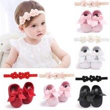 Bonitos zapatos de cuna antideslizantes para niñas recién nacidas, zapatos de lazada de Princesa para antes de caminar, primeros pasos, con diadema de 0 a 18M