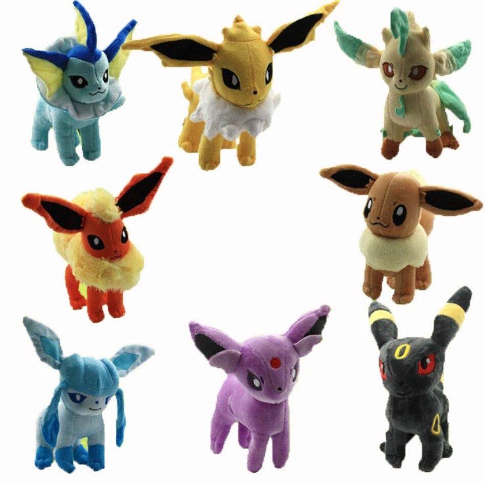 """Мягкие плюшевые игрушки стоят 8 """"20 см, Sylveon Umbreon Evee Espeon Vaporeon Flareon, мягкие игрушки в виде животных, подарок для детей"""