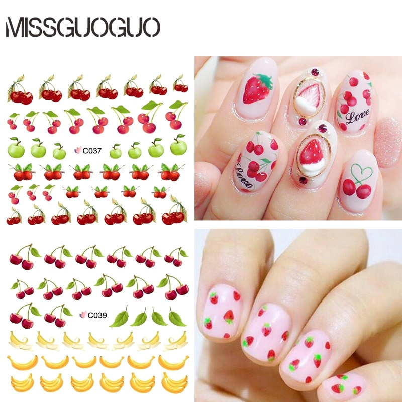 MISSGUOGUO cherry banana strawberry fruits design Nail Stickers water transfer decals nail art Water decal stickers for nails