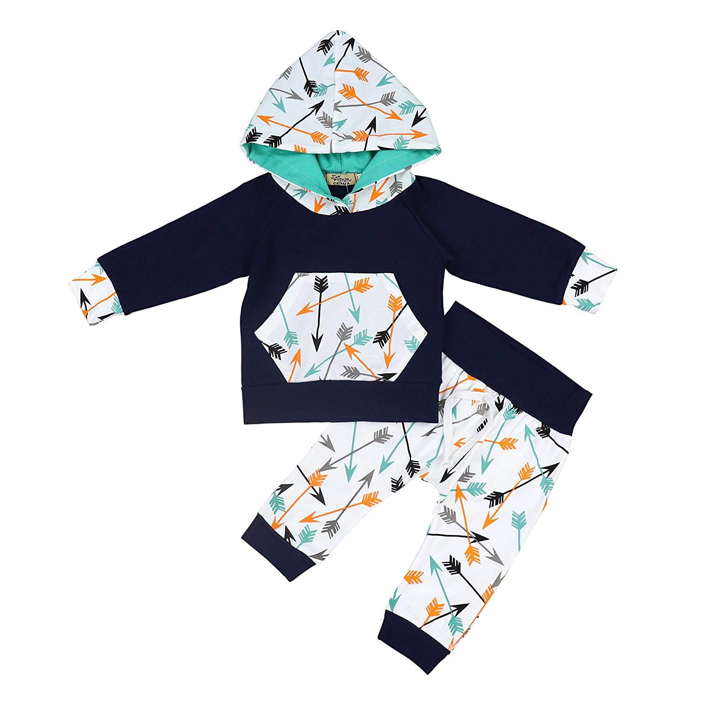 Oklady Doding niño bebé niños conjunto flechas manga larga Sudadera con capucha Tops con pantalones