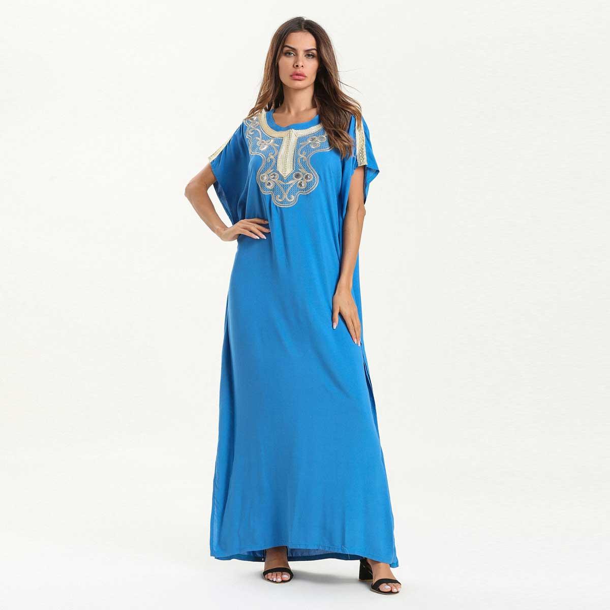 Verano bordado bohemio Maxi vestido con diseño de lentejuelas manga de murciélago azul Abaya musulmana Dubái islámico UAE árabe Túnica de algodón VKDR1560