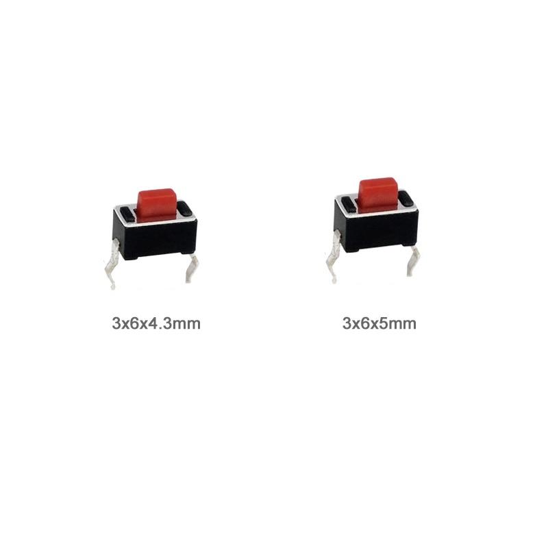 200 unids/lote 3*6*4,3/5mm interruptor de botón DIP 3x6x4,3/ interruptor táctil de 5mm para pantalla LED Color rojo