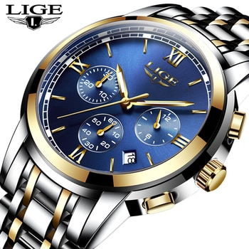 New LIGE Watches Men Luxury Brand Fashion Business Quartz Watch Men Six Pin Sport Waterproof Clock Man Full Steel Wristwatches