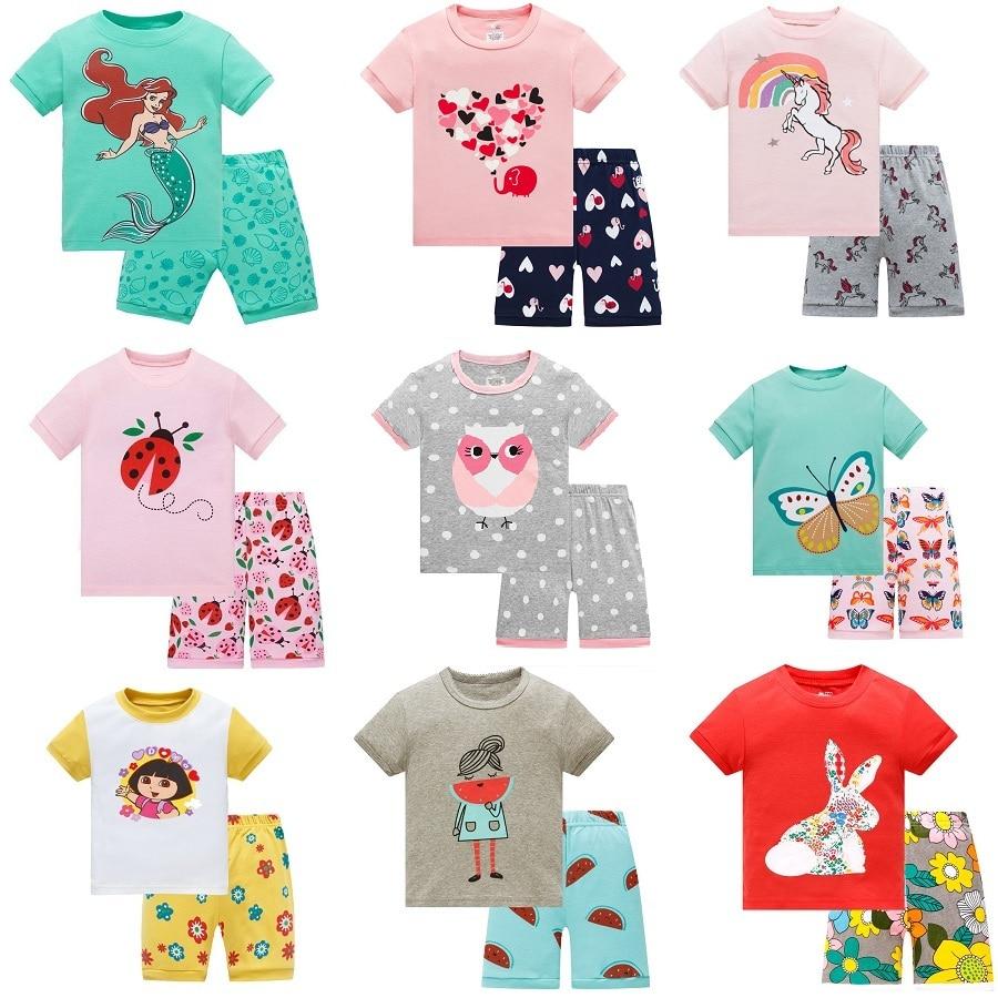 Детский пижамный комплект; Летняя детская хлопковая одежда для сна с короткими рукавами; Пижама для девочек с рисунком; Милая домашняя одеж...