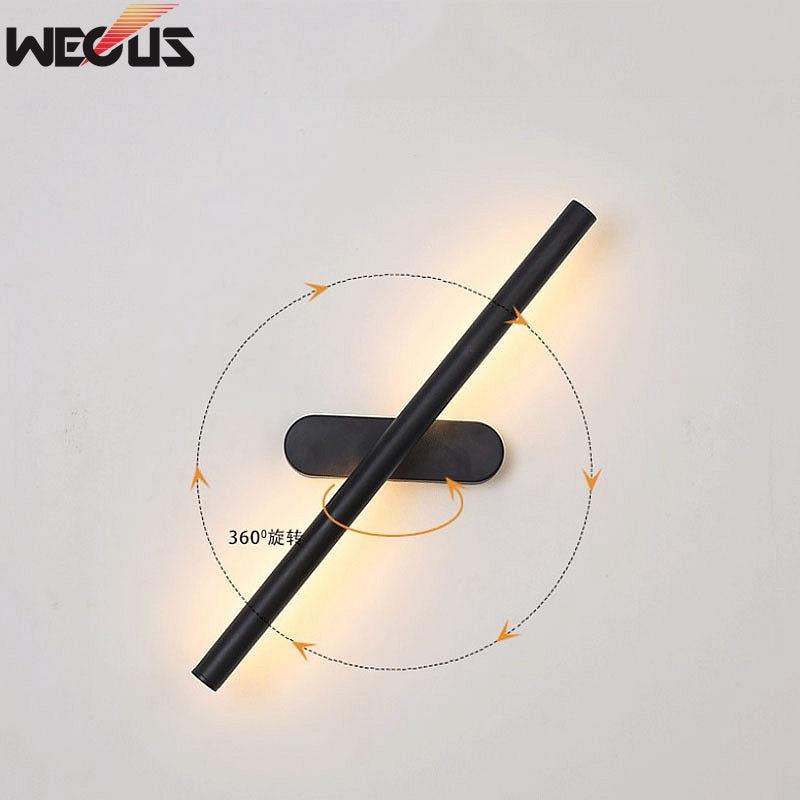 (WECUS) 360 degree rotating creative wall lamp, bathroom/bathroom LED mirror headlight, study/bedroom mural lamp