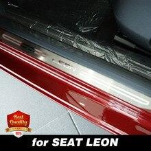 Para SEAT LEON 2015-2018, alféizar de puerta de acero inoxidable, placa de desgaste, alféizar de puerta de doble tono para LEON 2017-2019