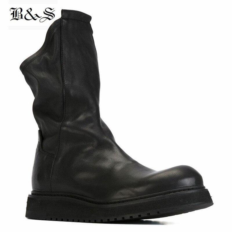 الأسود و الشارع 2018 خمر الشتاء الفراء الدافئة الداخلي حمى الرجال جورب الأحذية جلد طبيعي أسود منصة روك الاتجاه عارضة الأحذية