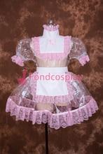 Sexy verrouillable clair PVC Sissy femme de chambre courte robe Cosplay Costume uniforme [T002]