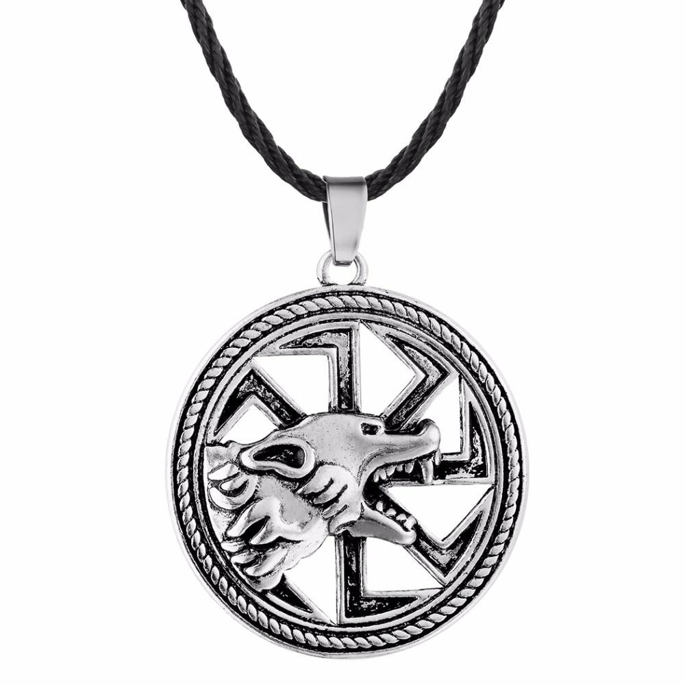 Nostalgia eslavo Kolovrat símbolo Lobo adolescente collares De amuleto colgantes pagano Pendentif Pour Fabricación De Bijoux