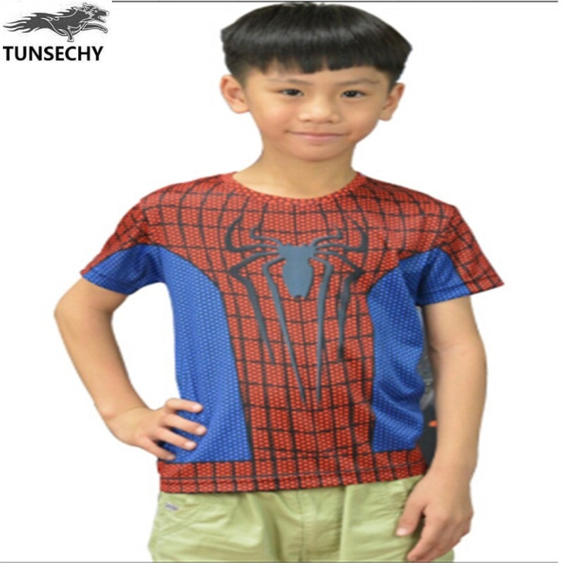 Nueva camiseta para niño spider-man 2017, armadura de Iron man hero, camiseta de manga corta, ropa estampada para niños