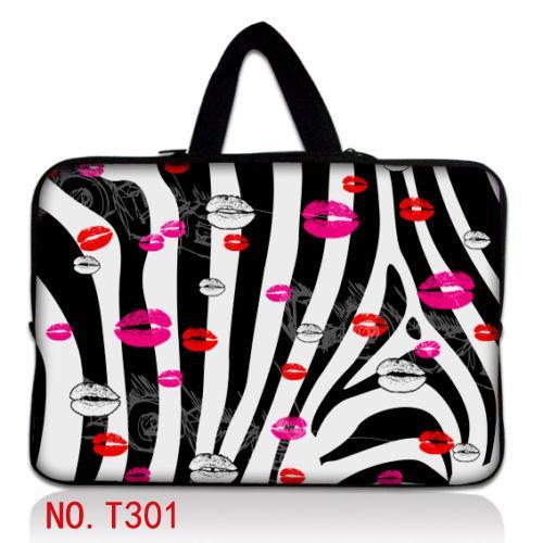 "Zebra & lips 15 ""laptop netbook sleeve case bag bolsa para 15.6"" acer aspire hp dell samsung"