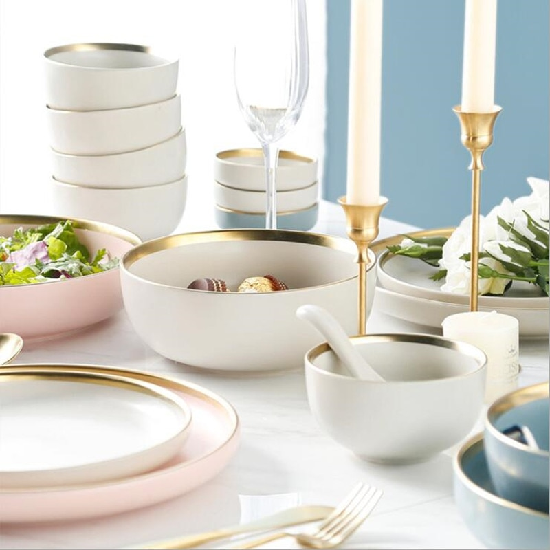 3 Colours Porcelain Dinner Plate Set Kitchen Plate Ceramic Tableware  Food Dishes Rice Salad Noodles Bowl Soup Kitchen Cook Tool