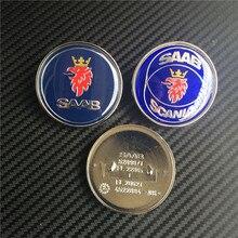 10pcs 50mm New Car Styling SAAB SCANIA Blue Front Bonnet Badge Emblem Auto Logo 2 pins 5289871 4522884