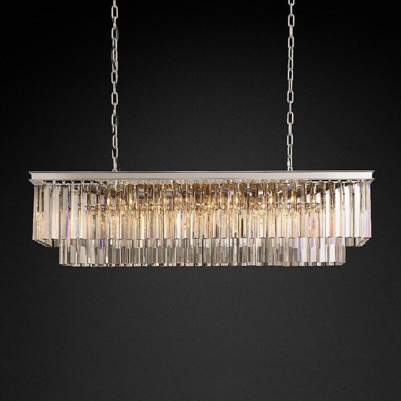 Americano clássico de cristal led lustres luz retangular foyer sala estar dininglighting sala cristal alta qualidade chandelie