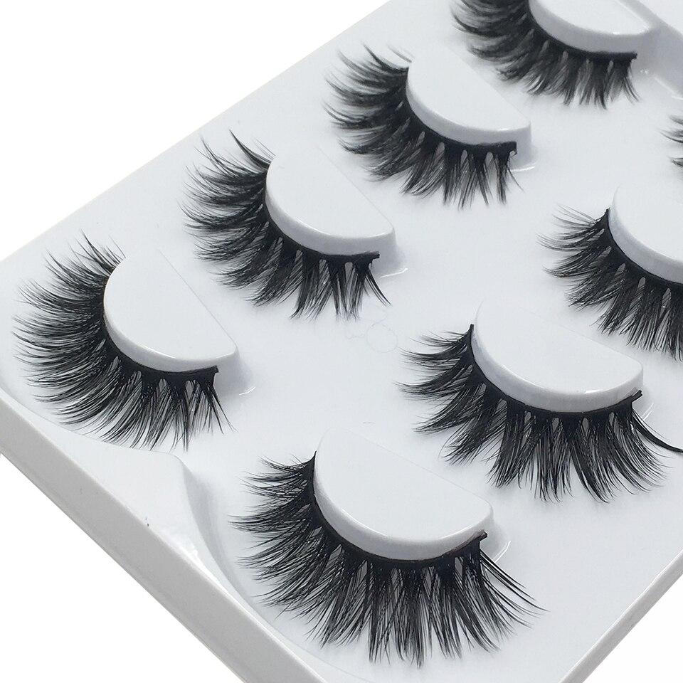 4 par/set pestañas postizas al por mayor volumen suave duradero entrecruzado 3d pestañas maquillaje hecho a mano visón pestañas L12