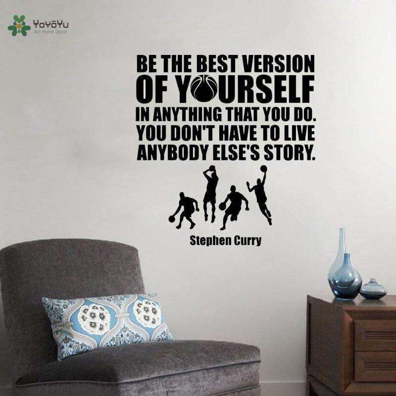 YOYOYU Stephen Curry, calcomanía de vinilo para pared, pegatinas de baloncesto, citas, baloncesto, decoración Interior del hogar, Mural para habitación de niños DIY ZW184