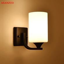 American Loft iron wall lamps bedroom bedside corridor Decoration lamp glass Lampshade minimalist wall light