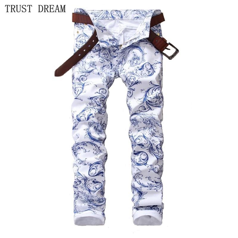 Джинсы мужские с цветочным принтом, модные облегающие штаны, штаны из денима, уличная одежда, белые синие, весна-лето 2019