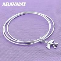 925 silver jewelry geometric aircraft pendant bangles for women men fashion silver jewelry