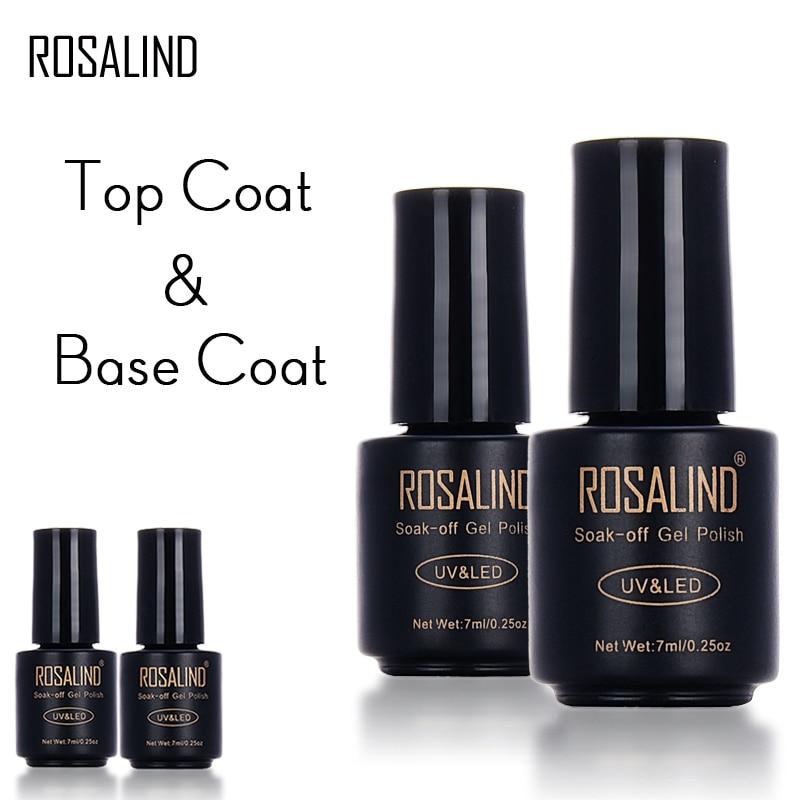 Rosalind 1pcs Nail Art 7ml Base Top Coat Gel Polish Primer Nail Art Manicure Tools Semi Permanent LED Multi-Use Top & Base Coat