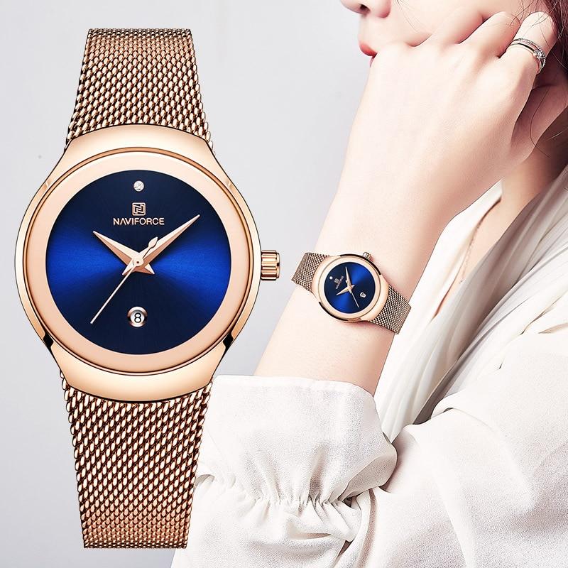 Reloj De lujo para mujer, De acero inoxidable, dorado, resistente al agua, a la moda, reloj deportivo para mujer, reloj De mujer NAVIFORCE Relogio femenino