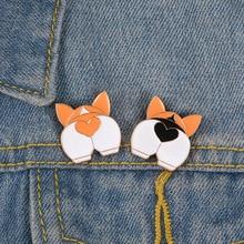 Cartoon Corgi Butt Enamel Pins Cute Dogs Puppy Badges Custom Pastel Brooch Denim Shirt Lapel Pin Animal Women Jewelry