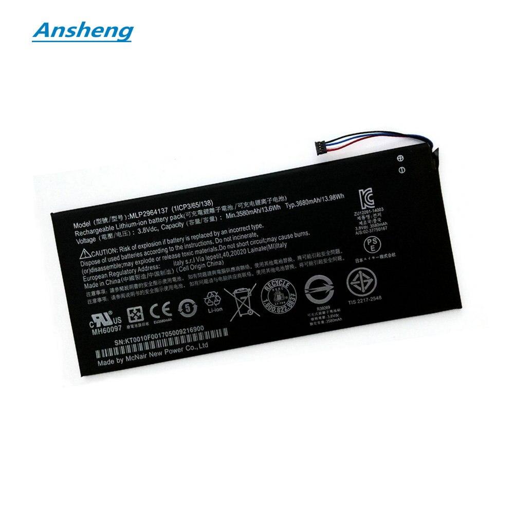 Ansheng высокое качество 3580mAh MLP2964137 батарея для Acer lconia One 7 B1-730 B1-730HD A1402 3165142P