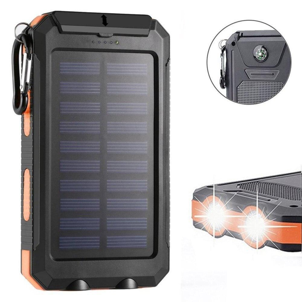 Luz LED Solar a prueba de agua Brújula de carga Po Solar móvil 10000mAh Solar recargable teléfono móvil