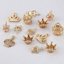 20 шт./лот KC металлические 3D шармы в виде короны принцессы, подвески, бисер, подходит для браслета, ручной работы, ювелирных изделий