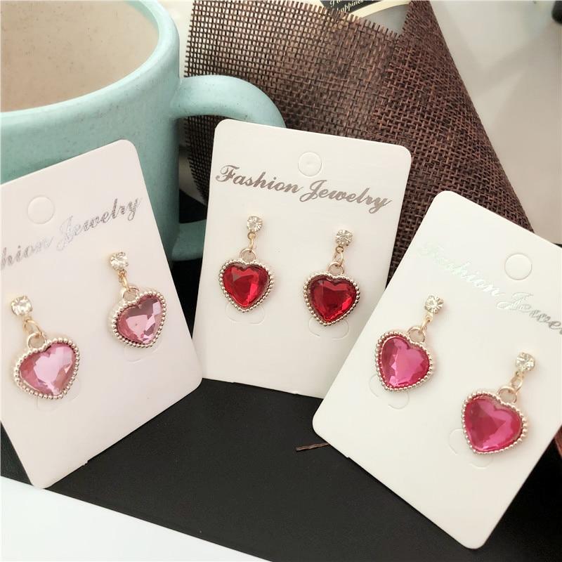 2019 new Fashion red Rhinestone Cute Peach Heart Crystal Pendant earrings For Women Jewelry Bride Wedding Party