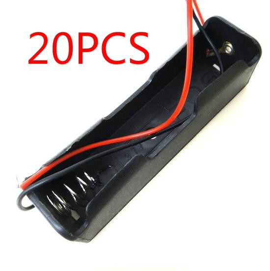 20 Uds caja pequeña de plástico Shell Battery 1x18650 3,7 V estuche protector caja de almacenamiento Clip negro con cable