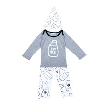 High Quality Spring Baby Girl Clothes Set Cartoon Milk Pattern T shirt+Printing Pants+Hat 3pcs Set F